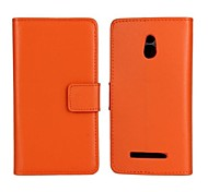 Solid Color Pattern Genuine Leather Full Body Case with Stand and Card Slot for Sony Xperia P Lt22i