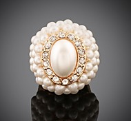 Women's Fashion Overstate Personality  Oval Pearl Diamond  Ring(More Colors)
