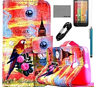 COCO FUN® Parrot Tower Pattern PU Leather Full Body Case with Film and USB Cable and Stylus for Motorala Moto G