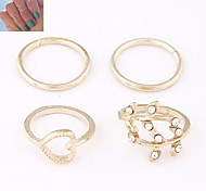 European Style Love Personality Wild Foliage Metal Rings (4PCS)