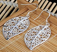 Women's Hollowed Leaf-Shaped Silvering Earrings (1Pair)