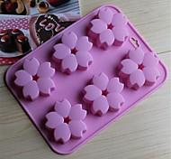 6-Loch-Kirschblüten Formkuchen Eis Gelee Schokoladenformen, Silikon 15 x 14,5 x 1,5 cm (6,0 x 5,8 x 0,6 Zoll)