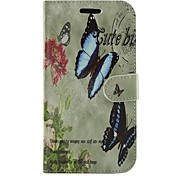Flowers and Butterfly PU Leather Full Body Wallet Protective Case with Stand for Samsung Galaxy S Advance I9070