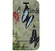 flores y estuche protector de cuero de la PU de la mariposa de cuerpo completo cartera con soporte para Samsung Galaxy Ace 4 g313h