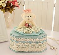 South Korean Princess Cartoon Bear Fabric Lace Cosmetics Box