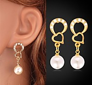 U7®18K Real Gold Plated Heart Earrings Rhinestone Pearl Earrings Drop Earrings Fashion Jewelry