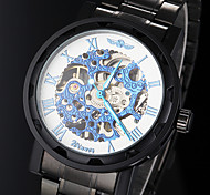 Men's Manual Mechanical Hollow Skeleton Blue Face Black Steel Band Wrist Watch (Assorted Colors)