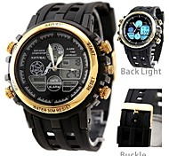 Men's Fashion Water Resistant Round Plastic Band Digital Watch (Assorted Colors)