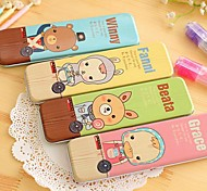 Animals Square Tin Pencil Box(1 PCS Random Color)