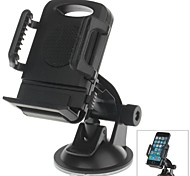 H01 180 Degree Rotation Suction Cup Holder with C66 4~5.4 Inch Back Clip Bracket for iPhone4, 5, 5s (Black)