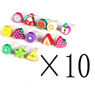 [10-PCS]Fruit 3.5 MM Polymer Clay Anti-dust Earphone Jack for iPhone/iPad and Others (Random Color)