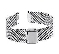 18 mm de espesor de acero de malla unisex reloj pulsera correa de banda de veces más hebilla de plata