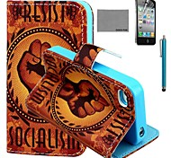 COCO FUN® Orange Fist Pattern PU Leather Case with Screen Protector and Stylus for iPhone 4/4S