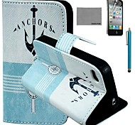 COCO FUN® Anchor Compass Pattern PU Leather Case with Screen Protector and Stylus for iPhone 4/4S