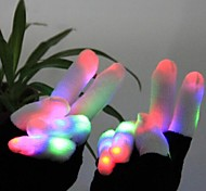 One Pair Acrylic Fiber White Finger Multicolors Led Novelty Glove for Rave Party