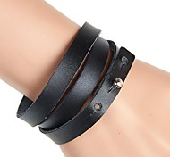 Non-Mainstream 3 Laps Wound Daily Recreational Leather Bracelet (Multicolor)