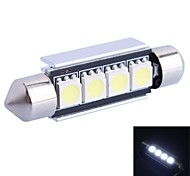 GC®  41mm 1.2W 65LM 6000K 4x5050 SMD White LED for Car Reading / License Plate / Door Light Lamp (DC12V)