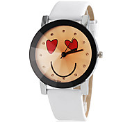 Women's Smile Face Pattern Round Dial PU Band Quartz Wristwatch