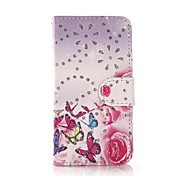 Fashion Rhinestone Painted Butterfly Dance Drama PU Full Body Case for Huawei P7