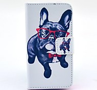 Glasses Dog Pattern Full Body Case with Stand for iPhone 4/4S