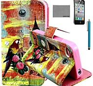 COCO FUN® Parrot Tower Pattern PU Leather Case with Screen Protector and Stylus for iPhone 4/4S