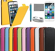 COCO FUN® Ultra Solid Genuine Flip Leather Case with Film and USB Cable and Stylus for iPhone 6 (Assorted Colors)