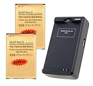 2x 4200mAh Replacement Battery + Wall Charger w/ USB For Samsung Note 3 IIIN9000 N9005 N900A N900 N9002