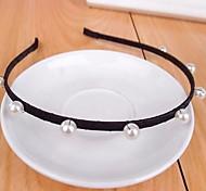 Fashion Handmade Beaded Simple Black Pearl Headband