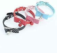 Red/Black/Blue/Pink Retractable/Cosplay PU Leather Collars For Dogs/Cats