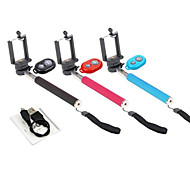Extendable Selfie Handheld Stick Monopod and Rechargeable Wireless Bluetooth Remote Control for iPhone