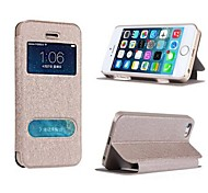 PU Leather Double Open Windows Costly Protection Silk Holster for iPhone 5/5S (Assorted Colors)