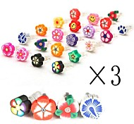 [3-PCS]Lovely Flowers 3.5 MM Polymer Clay Anti-dust Earphone Jack for iPhone/iPad and Others(Random Color)