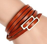 Snap Button Thong 4 Laps Wound Daily Recreational Leather Bracelet (multicolor)