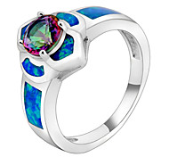 Fashion Jewelry  Women Lady's Finger Ring 10KT White Gold Filled Zircon Sapphire Rings