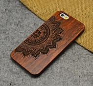 Wood Lucky Flower Carving Concavo Convex Hard Back Cover for iPhone 6