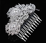 Floral Design Wedding Bride Crystal Feather Combs Hair Accessior