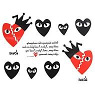 2PCS Yimei Tattoo Stickers Waterproof Others Women/Men/Adult/Teen Red/Black  The Heart-Shaped Eyes17cm*16cm