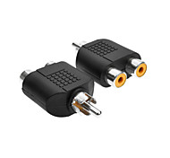 Stereo RCA Male to 2 * RCA Female Stereo Audio Adapter Connector - Black (2PCS)