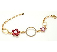 New Fashion Lady`s Jewelry 18K Rose Gold Plated Shining Austria Crystal Pink Flower With Circle Bracelet