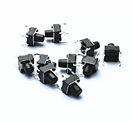 PA66 DC 12V 50mA Tact Switch - Black (10-Piece Pack / 6 x 6 x 5mm)