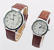 2015 Brand New Lover's Couple's Quartz Analog Casual & Fashion Watch Round PU Band Black/White/Brown