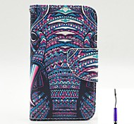 The African Elephant Pattern PU Leather Case Cover with A Touch Pen ,Stand and Card Holder for iPhone 4/4S