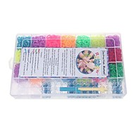 Rainbow Color Loom DIY Rubber Bands Bracelets with 6300pcs Bands and 100 S-clips in Plastic Carry Case