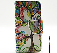 The Tree of Life Pattern PU Leather Case Cover with A Touch Pen ,Stand and Card Holder for iPhone 5/5S