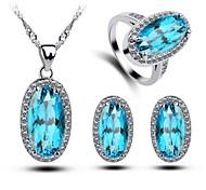 Women's Blue Crystal Egg Shape Handmede 3pcs Jewelry Sets