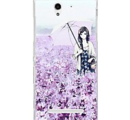 Fashion Cartoon Painted Lavender Girl PC Back Cover for Sony Xperia C3
