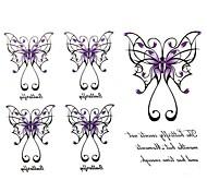 Séries Animal - Yimei - Tatuagem Adesiva - Waterproof - para Feminino/Girl/Masculino/Adulto/Boy/Adolescente - de Papel - Preta/Roxa - 17cm*16cm 2