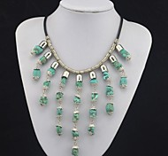 Toonykelly Vintage Look Antique Silver Irregular Turquoise Necklace(1 Pc)