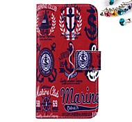 Red Anchors Pattern PU leather Full Body Case Dustproof Plug With Card Slot and Stand for Motorola G2