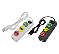 P-1030 Traffic Light Style 4-Port USB 2.0 HUB - Black((Assorted Colors))